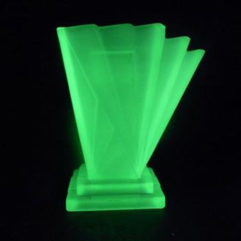 Bagley #334 Art Deco Uranium Green Glass 'Grantham' Side Vase