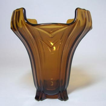 Sowerby #C2631 Art Deco 1930's Amber Glass Posy Vase
