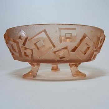 Libochovice Czech Art Deco 1930's Pink Glass Bowl #1442