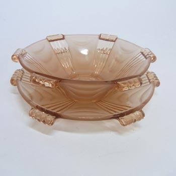 Stölzle #19678 Art Deco 1930's Pink Glass Bowl + Plate Set
