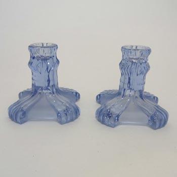 Stölzle #19743 Czech Pair of Art Deco 1930's Blue Glass Candlesticks