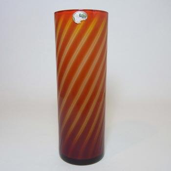 Elme 1970s Scandinavian Orange Cased Glass Stripey Vase