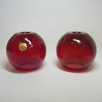 2 x Swedish Flygsfors Red Glass Candlesticks - Labelled