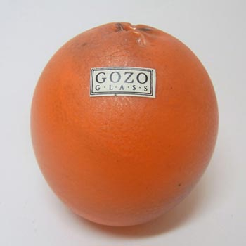 Gozo Maltese Glass Orange Fruit Paperweight - Labelled