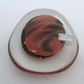 Gozo Maltese Red + Black Glass Paperweight - Labelled