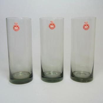 Holmegaard Set of 3 Smokey Glass Tumblers/Glasses - Labelled