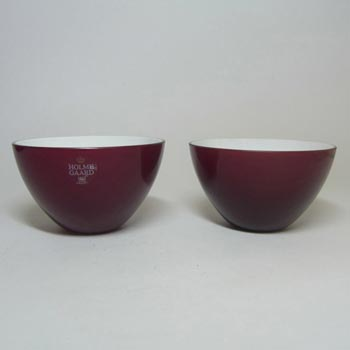 Holmegaard Pair of Red Glass 'Cocoon' Bowls by Peter Svarrer
