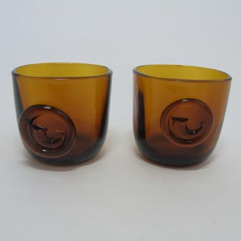 Holmegaard 'Viking' Amber Glass Cups by Ole Winther 1955