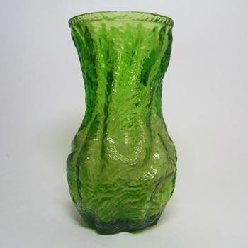 Ingrid/Ingridglas 1970's Green Glass Bark Textured Vase