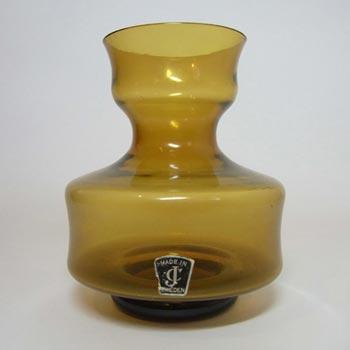 JC 1970's Scandinavian Amber Glass Vase - Labelled