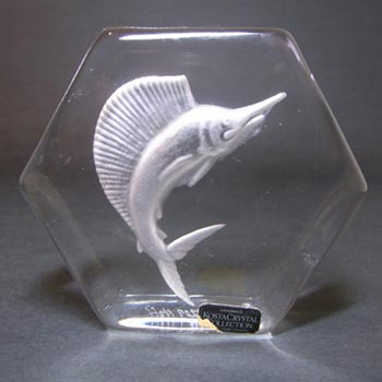Kosta Boda Glass Fish Paperweight - Signed + Labelled