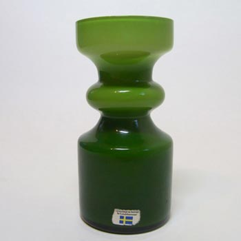 Lindshammar 1970's Swedish Green Glass Vase - Labelled