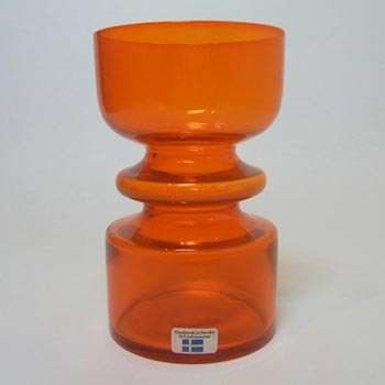 Lindshammar 1970's Swedish Orange Glass Vase - Labelled