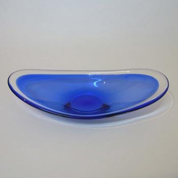 Magnor Scandinavian 70's Blue Cased Glass Bowl - Signed