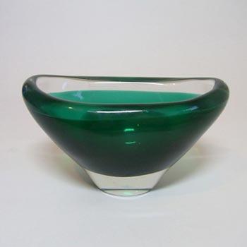 Magnor Scandinavian 70s Green Cased Glass Bowl - Signed