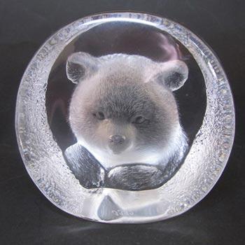 Mats Jonasson #3332 Glass Paperweight Bear Sculpture - Signed