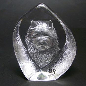 Mats Jonasson #3699 Glass Paperweight Dog Sculpture - Signed
