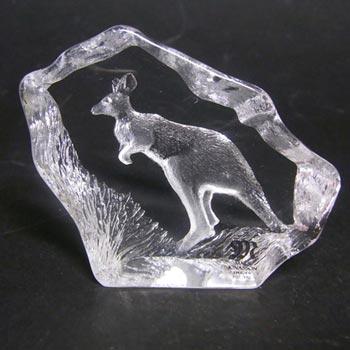 Mats Jonasson #88141 Glass Kangaroo Paperweight - Signed/Label