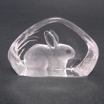 Mats Jonasson Glass Paperweight Rabbit Sculpture Signed