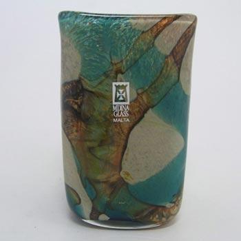 Mdina Blue/Sandy 'Tiger' Glass Vase - Signed & Labelled