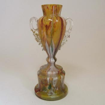 Welz Bohemian Multicoloured Spatter Glass Trophy Vase