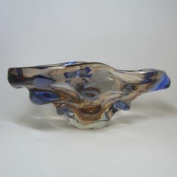 Mstisov/Moser Czech Amber & Blue Glass Organic Bowl