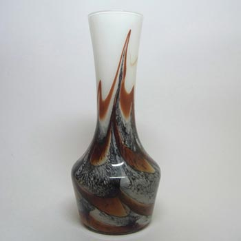 Italian V.B. Opaline Florence Marbled Brown Glass Vase