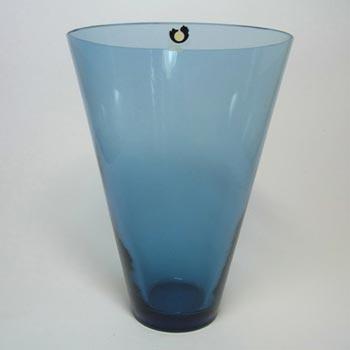 Swedish Pukeberg Blue Glass Vase c. 1960's - Labelled