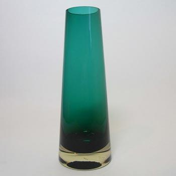 Riihimaki #1364 Riihimaen Lasi Oy Green Glass Vase - Marked