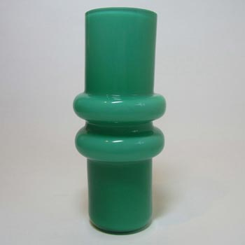 Scandinavian / Swedish Retro Green Cased Glass Hooped Vase