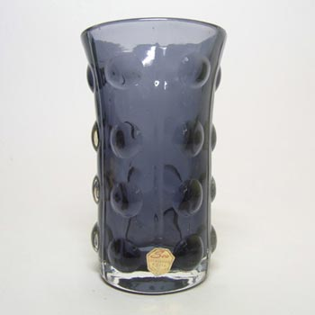 Sea Glasbruk/Kosta Swedish Purple Glass Vase - Labelled