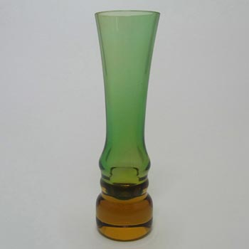 Sea Glasbruk 1970's Swedish Green & Amber Glass Vase