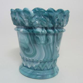 Victorian 1890's Malachite/Slag Glass Toothpick Holder