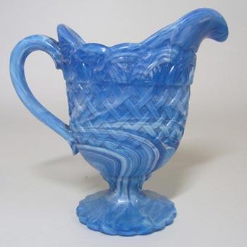 Victorian 1890's Blue Malachite/Slag Glass Jug