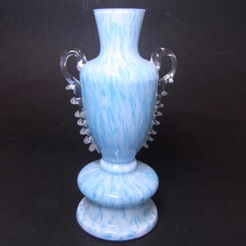 Welz Bohemian Blue & White Spatter Glass Trophy Vase