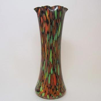 1930's Czech Multicoloured Spatter/Splatter Glass Vase