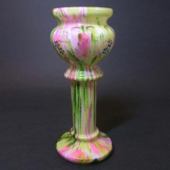 Welz Bohemian Pink & Green Aventurine Spatter Glass Vase