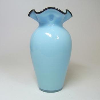 1930's Bohemian Retro Blue & Black Tango Glass Vase