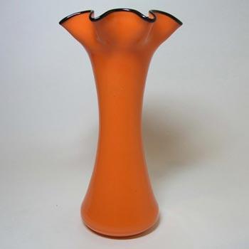 1930's Bohemian Retro Orange & Black Tango Glass Vase