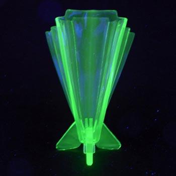 Stölzle #19249 Art Deco 1930's Uranium Green Glass Vase