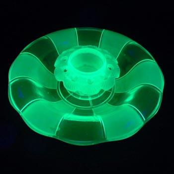 Walther Art Deco Uranium Glass 'Gorlitz' Bowl & Frog