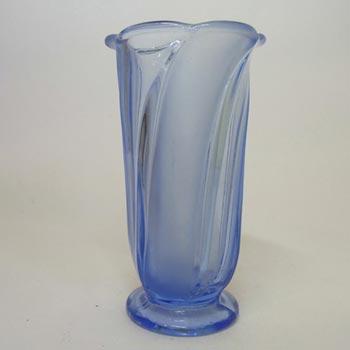 1930s Walther & Sohne Art Deco Blue Glass 'Primus' Vase