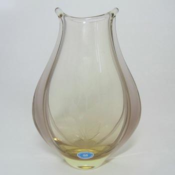 Zelezny Brod Sklo Czech Citrine Glass Vase - Labelled