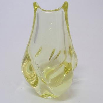 Zelezny Brod Sklo Czech Yellow Citrine Glass Vase
