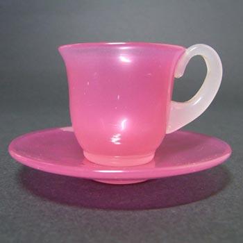 Stevens + Williams Stourbridge Alabaster Glass Cup + Saucer