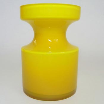 Alsterfors #S5014 Yellow Hooped Glass Vase Signed P Strom 68