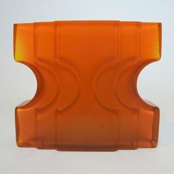 Alsterfors Orange Cased Glass Vase Signed P. Strom 70