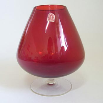 Alsterfors Swedish Red Vase/Brandy Glass - Labelled
