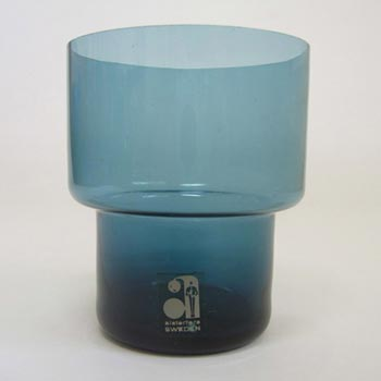 Alsterfors Scandinavian Blue Glass Tumbler - Labelled