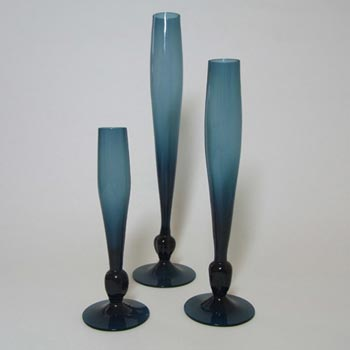 Alsterfors Set of 3 Swedish 1970's Blue Glass Stem Vases